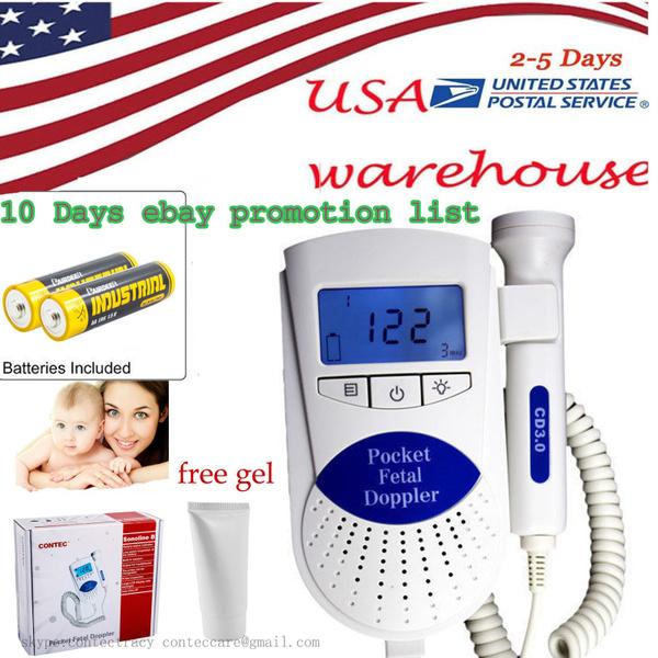Fetal doppler,Backlight LCD,3mhz,gel,Baby heart Monitor,FDA,babteries,USA ship