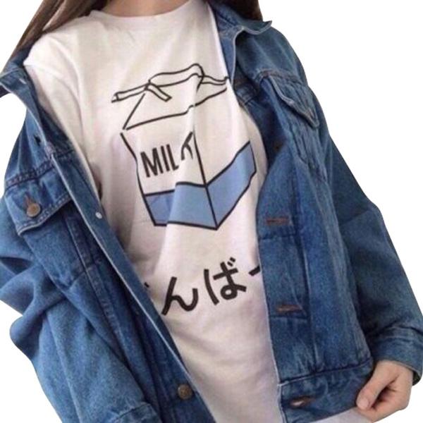 Round neck, White T-Shirt Women, Shirt, letter print
