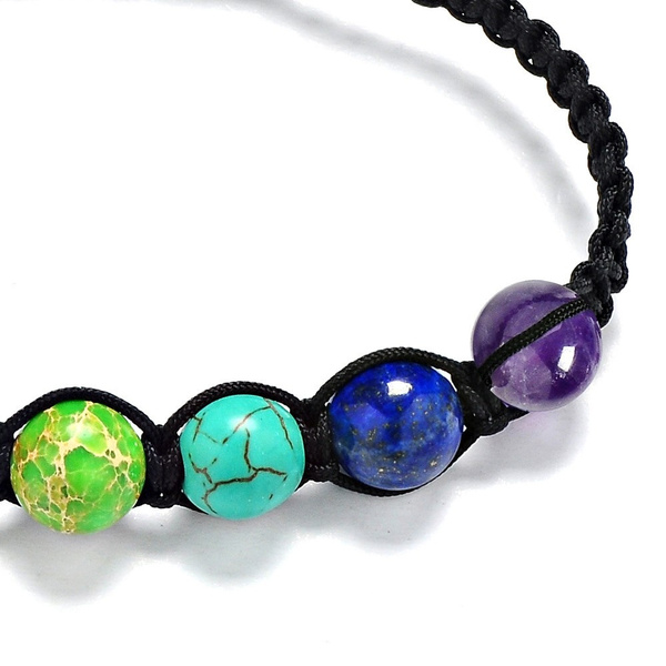 Muti-color Chakra Beads Bracelets Adjustable Braided Rope Healing Turquoise Bracelet for Men Women Reiki Prayer Stones Arm Cuff (Color: Multicolor)