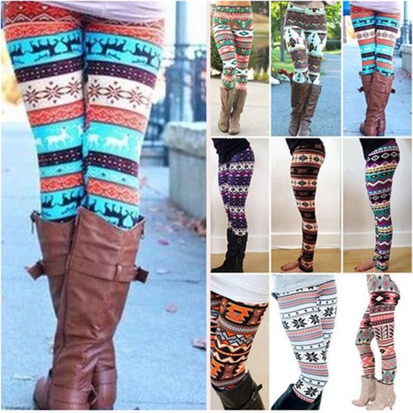 Woman Christmas snowflake Printing leggins Slim High Waist Leggings Pants LOVE