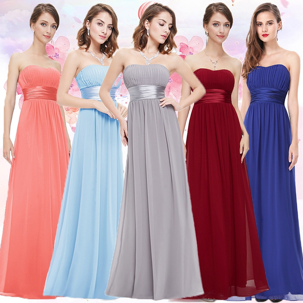 Christmas Party Dresses.Ever Pretty Women Strapless Long Chiffon Evening Bridesmaid Christmas Party Dresses Ep09955