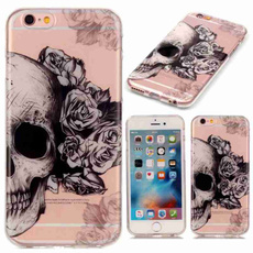 Skull Painted Pattern Super Flexible Thin Soft TPU Back Cover Drop Resistance  Protection Mobile Phone Bag Case Compatible For iPhone 5 5S SE 5C 6 6S Plus /Samsung Galaxy S5 S6 S6 Edge S7 S7 Edge Grand Prime G530 A310 A510 J3 J5 J510 J7 J710