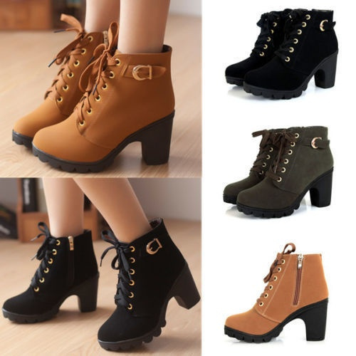 Picture of Women Short Ankle Boots Leather Snow Boots Thick Heels Female Women Shoes