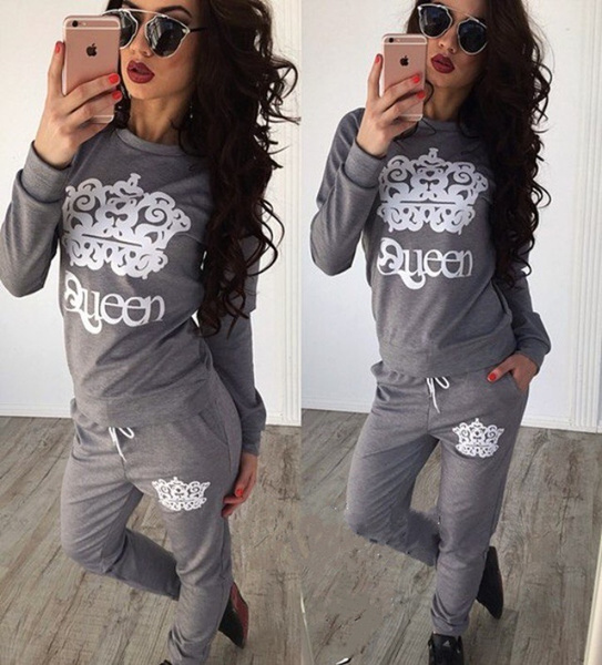 Fashion Women's Two-pices Casual Sport Tops Sweatshirt Track Pants Sweat Suits Tracksuit