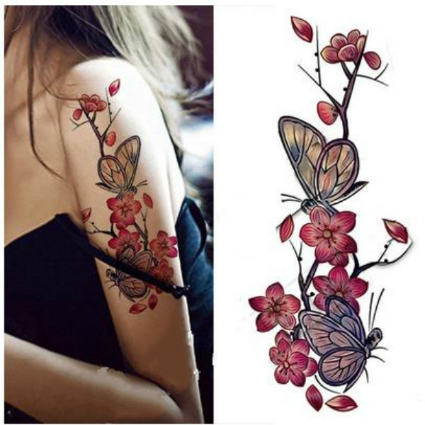Wish 2pcs The Cherry Blossom Tattoo Waterproof Sexy Female
