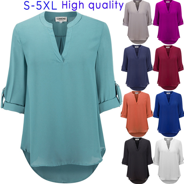 Picture of Women's Fashion Solid Color V-neck Long Sleeve Shirt