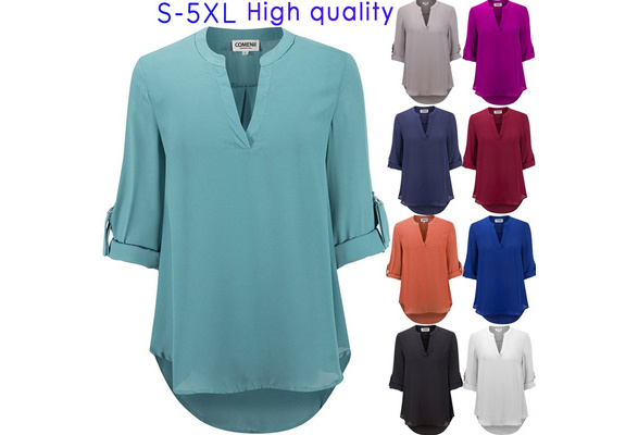 Women's Fashion Solid Color V-neck Long Sleeve Shirt High Quality Casual TOPS Plus Size S-5XL