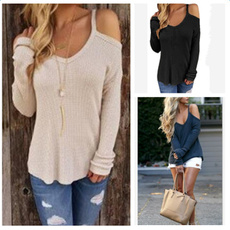 Fashion Women Casual Solid Off The Shoulder Long Sleeve Tops Shirt Blouse Bottoming T Shirt