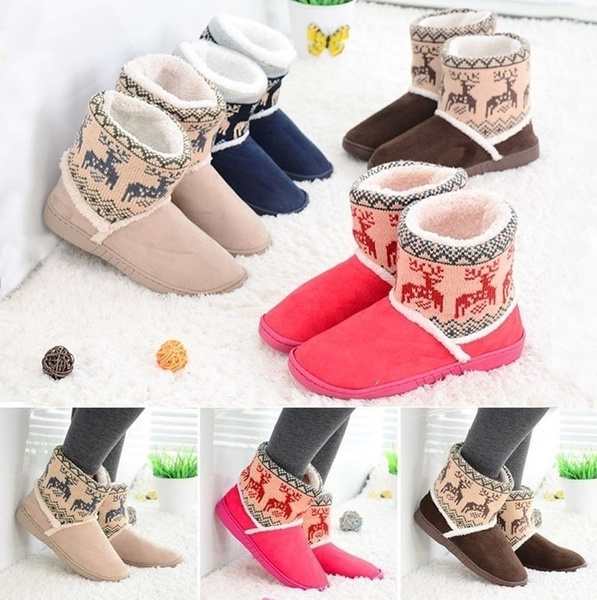Picture of New Ankle Warm Slippers Short Plush Ladies Snow Shoes For Women Winter Thicken Artificial Plus Size