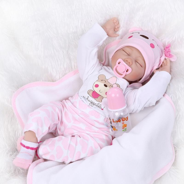 "22/"" Sleeping Girl Dolls Vinyl Handmade Lifelike Silicone Reborn Baby Toy Newborn"