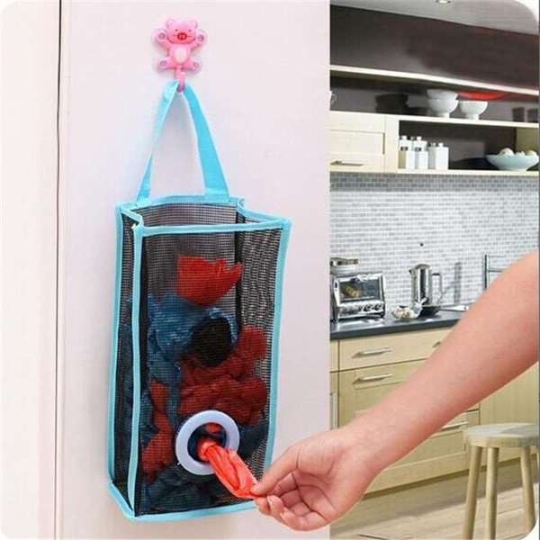 Picture of Kitchen Hanging Type Breathable Mesh Grid Garbage Bags Storage Bag Convenient Extraction Pouch Bag