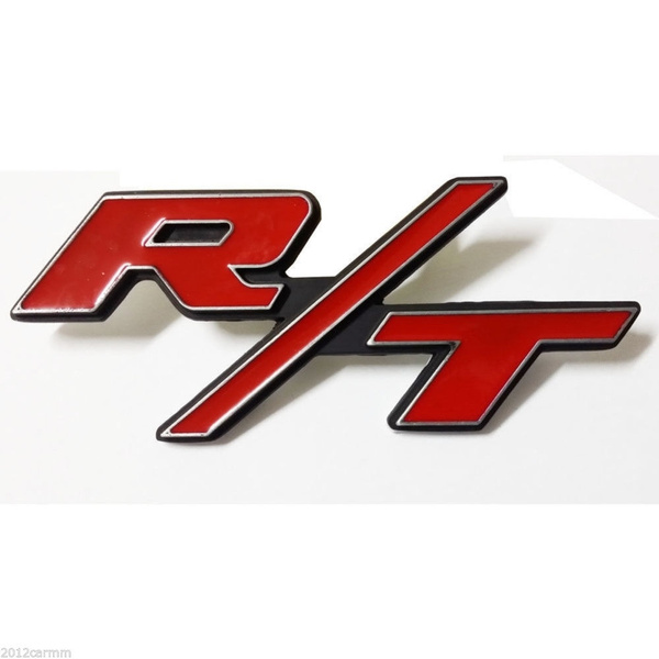 New 3D alloy Red RT R//T Emblem For Dodge Charger Ram 1500 Challenger Trunk Badge