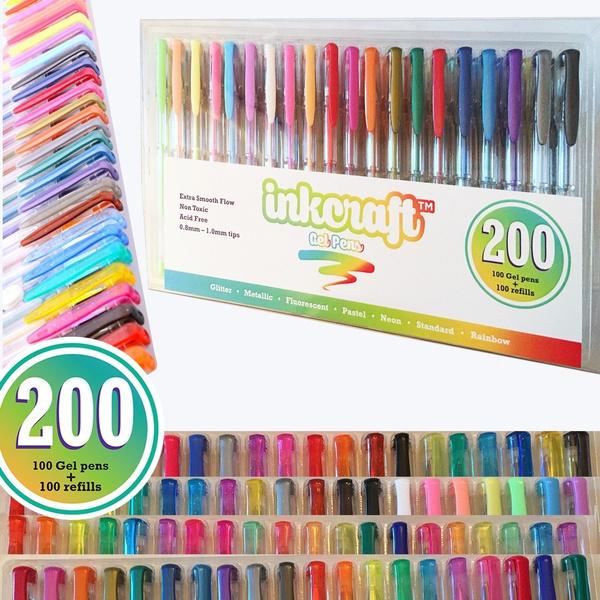Wish | color 200 Gel Pen Set, 2 Packs of 100 Gel Pens Ideal for ...
