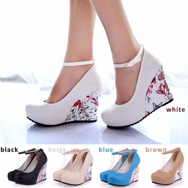 Picture of High Wedges Platform Summer Pumps For Women Casual Dress Elegant Flower Print Wedges Platform Shoes