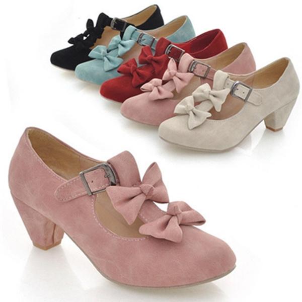 Picture of Bowtie Court Pumps Faux Suede Block Low Heel Pumps Shoes