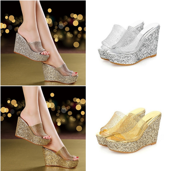 f73ee39bfb Summer Girls Wedge Jelly Shoes Beach Comfortable Women Slippers Wedges High  Heels Sandals Glass Sequin Wedge Shoes US SIZE 10.5