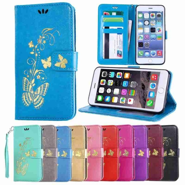 Luxury Flip Cover Bronzing Butterflies PU Leather Wallet Card Slots Protection Mobile Phone Bag Case Compatible  For iPhone 5 5S SE 6 6S Plus iPod Touch/