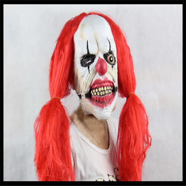 wish halloween party cosplay funny halloween latex scary clown mask with red hair jester joker face mask costume dress