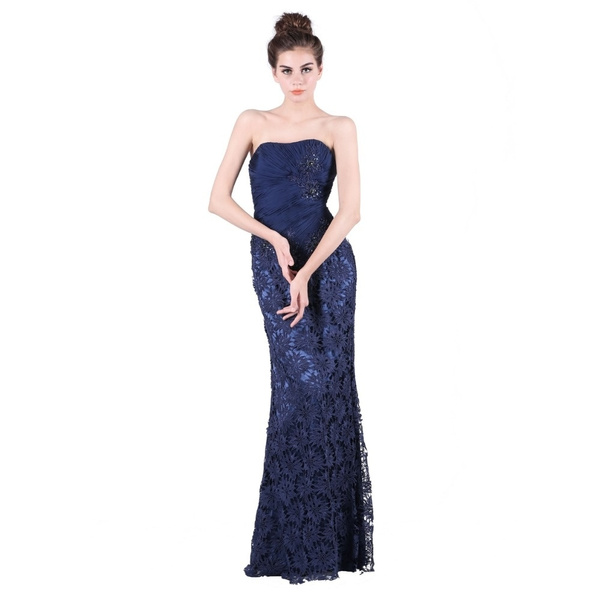 Vestidos De Fiesta Largos Prom Dresses With Strapless Lace Crystal Beading Plus Sizes Long Evening Dresses Party Dresses