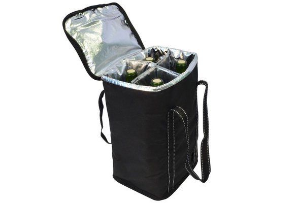 Insulated 4 Bottle Wine Cooler Bag for Travel Picnic Champagne Carrying Case