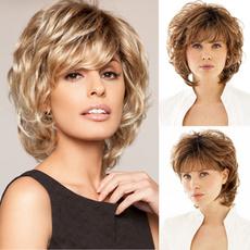 wig, Shorts, blondecurlywig, wigsforwomen