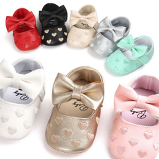 Leather Newborn Baby Girls Princess Heart-Shaped Mary Jane Big Bow Prewalkers Soft Bottom Shoes