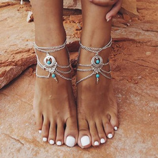 Turquoise, Sandals, barefoot, Jewelry