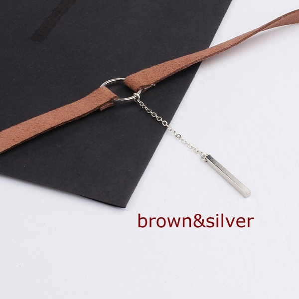 PU Leather Choker Charm Necklace Vintage Hippy Chocker Retro A Strap-shaped Pendant Necklace Accessories Clavicle Chain