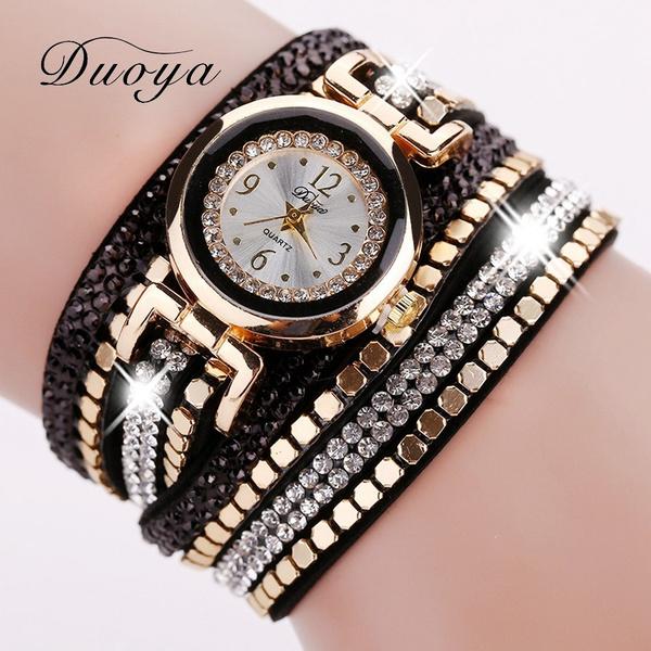 Picture of Women's Casual Vintage Multilayer Wristwatch Crystal Weave Wrap Rivet Leather Bracelet Wrist Watch