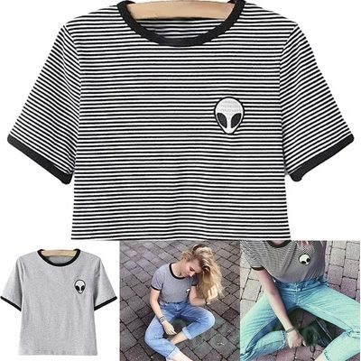 Picture of Women Summer Loose Print Short Sleeve Tee Shirt Round Neck Casual Crop Top Alien Printing T-shirt