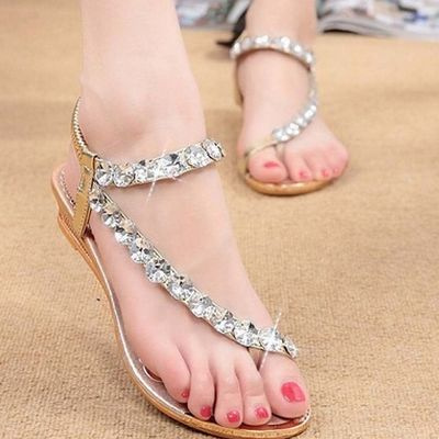Picture of Rhinestone Summer Fashion Women's Sandals Hotsales New Arrival Women's Shoes Elastic Band Pu Wedges Sandalias Ladies Shoes