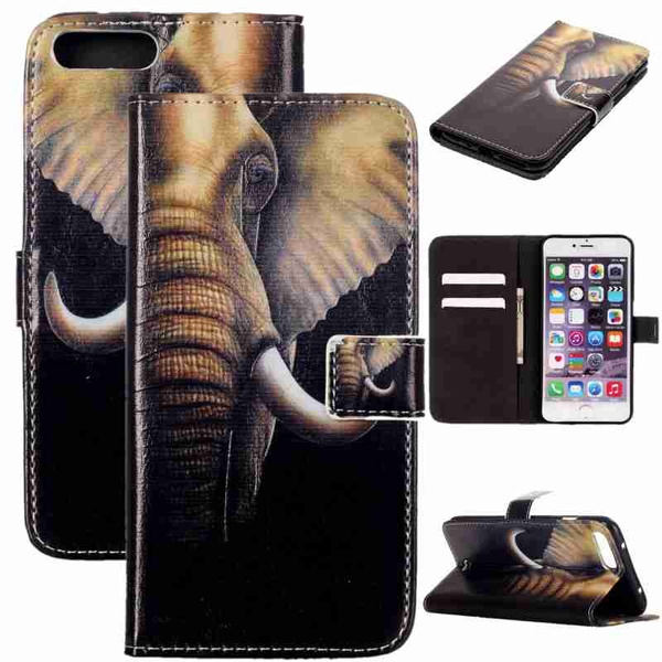 Picture of Lucky Elephant Painted Pattern Flip Cover Holster Pu Leather Wallet Card Slots Drop Resistance Mobile Phone Bag Case For Iphone 5 5s Se 5c 6 6s Plus /Samsung Galaxy Note7 S6 S6 Edge S6 Edge Plus S7 S7 Edge J1 J5 A310 A510 G530 G360 /Ls770 Ls775