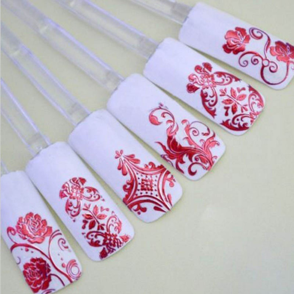 Wish | New 3D Stickers For NAILS Foil Flower Nail Design Sliders ...