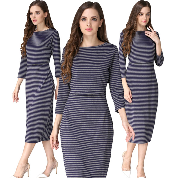Style Maternity Clothes Breastfeeding Dresses Nursing Dress Plus Size S M L  XL XXL