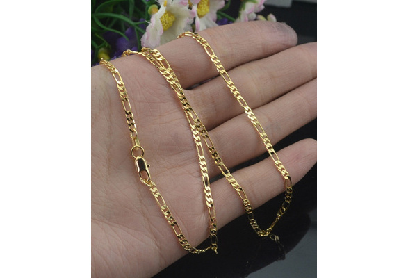 2MM Men Women Fashion 18K Yellow Gold GF Twisted Wedding Chain Necklace 16-30 inches