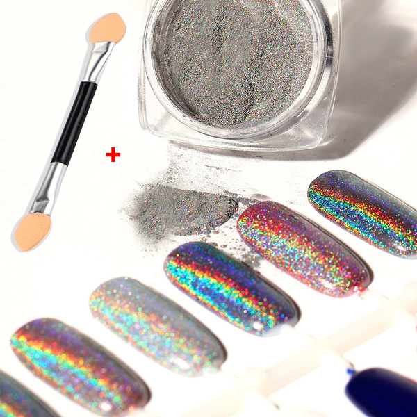 2g Shiny Rainbow Laser Magic Mirror Powder Nail Glitter Fashion Pretty Metal Pigments Dust Women Nails Decoration Accessories Gifts