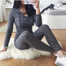 Sexy Fashion Women Casual Solid Lace Up Long Sleeve Jumpsuit Long Stretch Pants Rompers Overalls