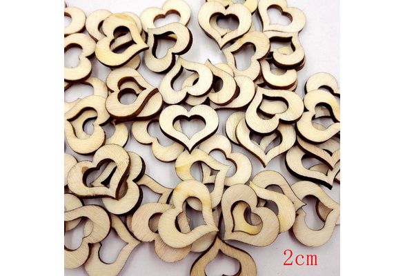 HOT SALE 100pcs 20mm Mixed Rustic Wooden Hollow Love Heart Wedding Table Scatter Decoration Accessories