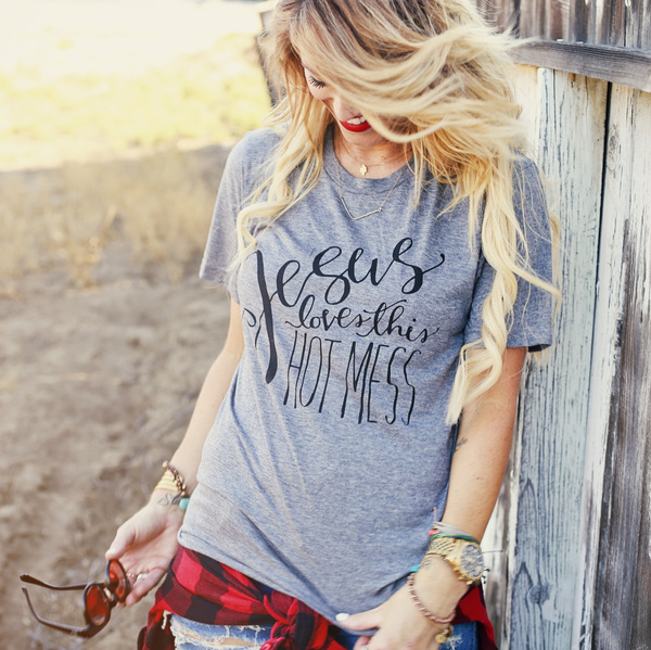 Picture of Jesus Loves This Hot Mess Christian T-shirt
