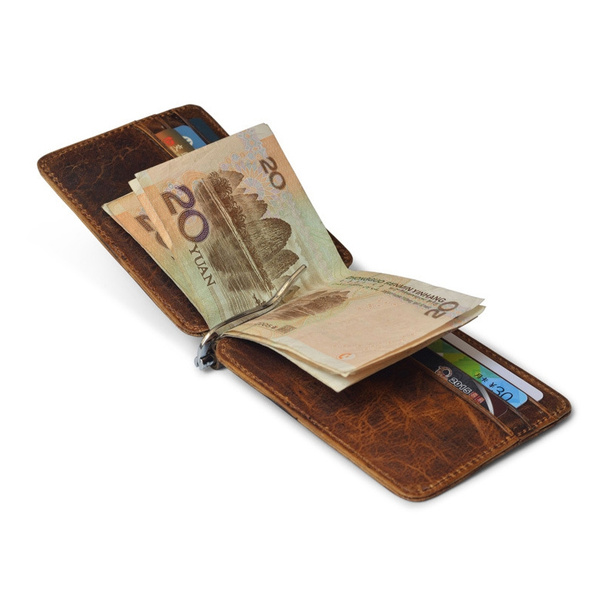 Money Clip RFID Front Pocket Wallet Men Leather Slim Minimalist Classic Brown