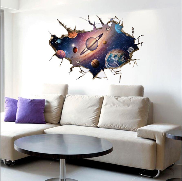 wish | large 3d galaxy universe wall sticker decals purple outer