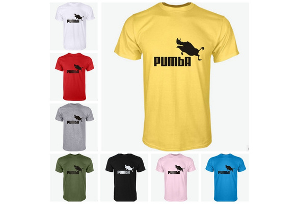 High Quality Pure Cotton Men Summer New Fashion Short Sleeve PUMBA Printed Casual Round Neck T Shirts