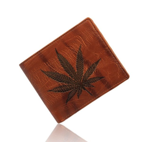 Picture of Men's Synthetic Leather Wallet Leaf Pattern Money Pockets Credit/id Cards Holder Purse Creative Male Short Wallet Size One Size