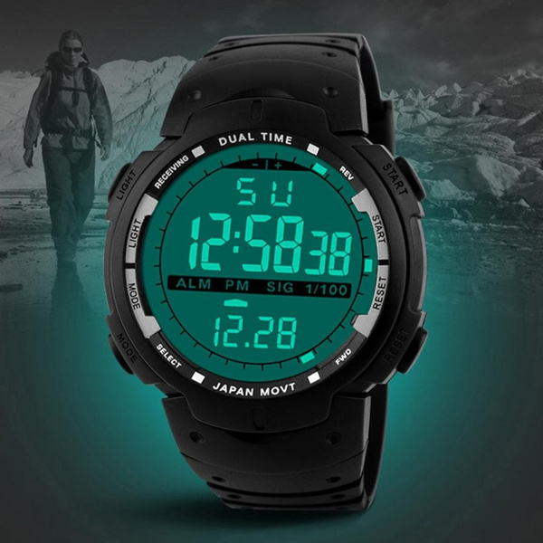 Picture of Fashion Men Led Digital Date Military Sport Rubber Quartz Watch Alarm Waterproof