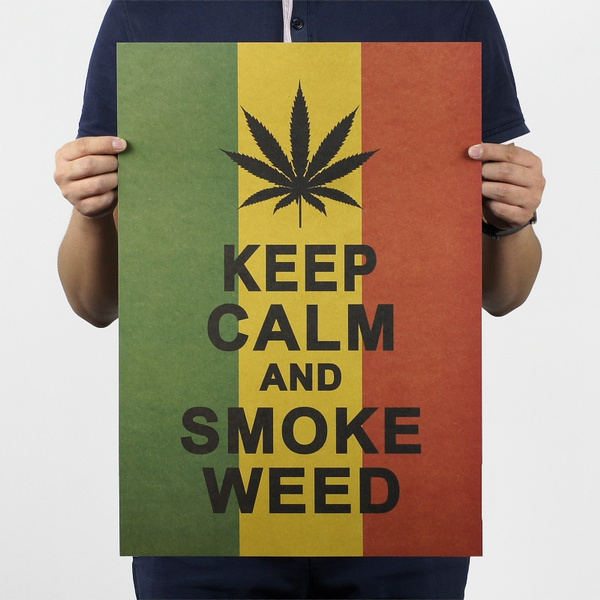 Picture of Jamaica Reggae Style Keep Calm And Smoke Weed Poster Wall Stickers Decal