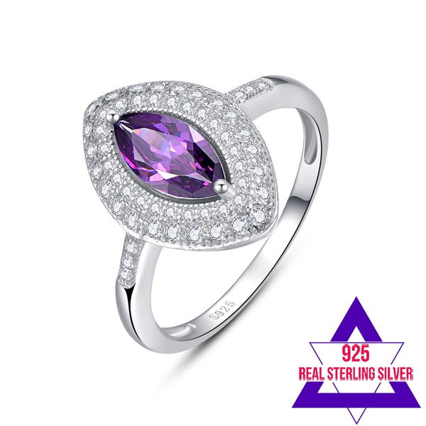 Solid 925 Sterling Silver Marquise Cut Genuine Amethyst Ring Size-6 .