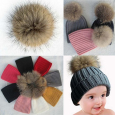 Baby Warm Knit Hat Winter Fur Bobble Hat Cap