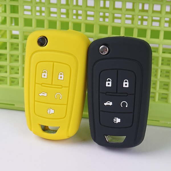 Car Keys Fob Protector Silicone Case Covers Set Skin Sleeve for Chevrolet  Camaro Malibu Stickers Five 5 Buttons Accessories