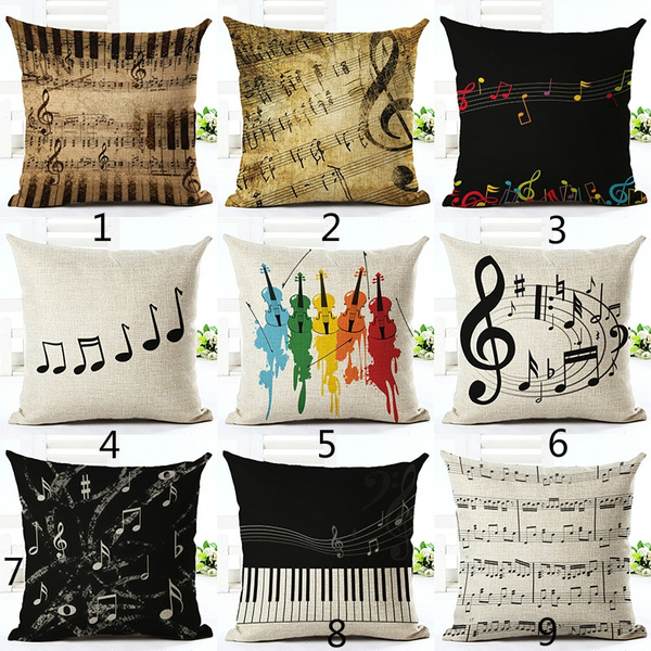 Picture of Music Series Note Printed Linen Cotton Square 45x45cm Home Decor Houseware Throw Pillow Cushion Cover Cojines Almohadas