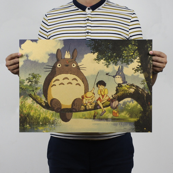Picture of Lovely Totoro Wall Poster Wall Decals Kraft Paper Poster Cute Movie Poster